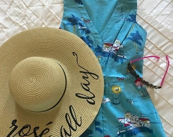 Rosé All Day Beach Hat, Floppy Hat, Ladies Sun Hat, Bachelorette Party, Honeymoon Hat, Girls Weekend Away