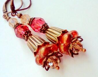 Tangerine Shimmer,  Czech Glass, Czech Puffed Bell Flowers Earrings, Floral Earrings, Light Orange Earrings, Orange Melon Earrings, Vintage