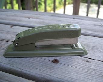 vintage Swingline Cub stapler || green stapler || vintage office decor || men's office decor || vintage stapler || office supplies