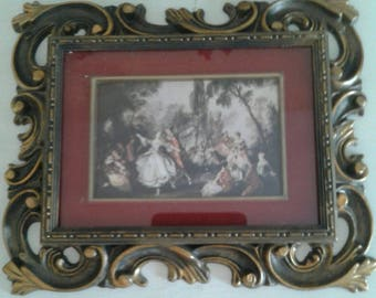 Vintage Victorian picture....shadowbox style....romantic colonial...ornate goldtone frame