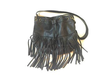 Vintage Black Leather Fringe Purse