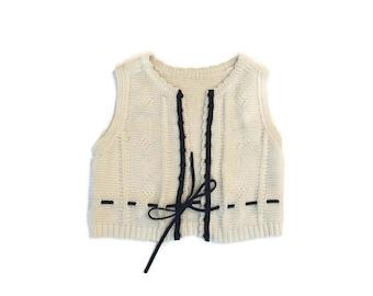 Vintage Cream Croquet Vest