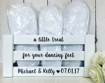 A Little Treat For Your Dancing Feet | Personalised | Wedding | MDF | Crate | Box | Slippers | Flip Flops | Rustic | Gifts and Cards