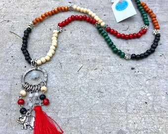 Long necklace, colorfull necklace, Spring Jewelry, Tassel Necklace, Beaded necklace, tassel Necklace, elephant necklace, flowers necklace