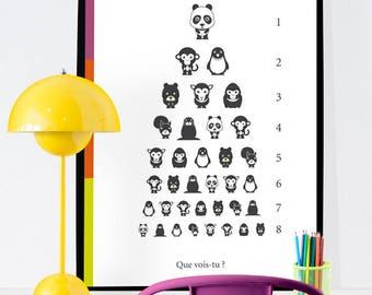 Digital file A3 - What do you see? - poster, room, decoration, illustration, animals, child, baby, optometry - A