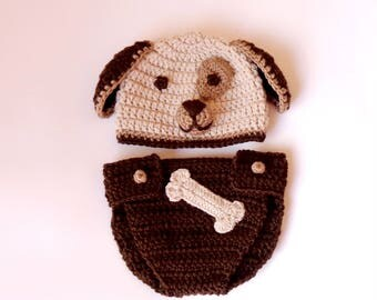Puppy Dog Hat / Beanie With Diaper Cover Bone - Premie, Newborn, Child, Teen, Adult - Halloween / Cosplay Wig/ Baby Shower Gift