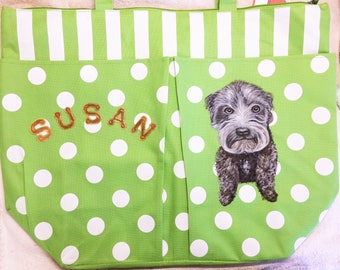 Personalized Pet Portrait Totes, Hand-Painted From Photos of Your Dog, Cat, Horse, Bird, Etc.