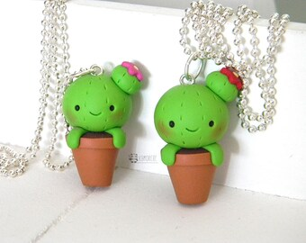 """Fimo cute cactus, succulent plants, kawaii, Fimo Cacti, Cactus in the jar with """"bun"""" and flower, Polymer clay, necklace"""