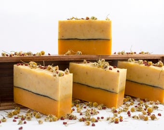 Chamomile and Eucalyptus, Handcrafted Soap, 100% Natural, Organic, Pure Essential Oil, Cold Process Method, No artificial colors, Soap Bar