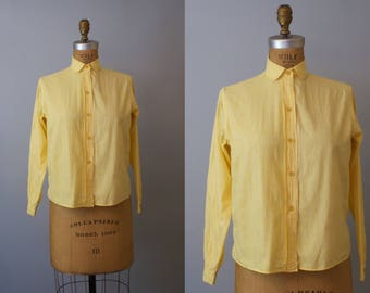 1960s Yellow Gingham Check Shirt / 60s Cotton Shirt / Summer Shirt