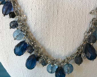 """Vintage Talbot's blue beaded necklace 17"""" necklace  blue crystal necklace special occasion necklace"""
