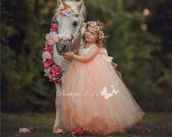 Peach Flower Girl Dress Tutu Tulle