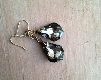 bridal crystal earrings, sterling silver earrings, baroque earrings, teardrop earrings, black crystals, sparkly earrings, uk shop, uk seller