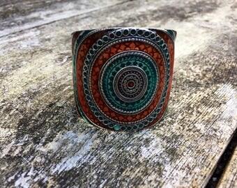 Sale vintage bangle, large cuff bracelet, red blue bangle, one size fits most bangle, ethnic bracelet, western bracelet, uk shop, uk seller