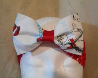 Dr Seuss  Print Fabric Hair Bow  Red  Stretchy Headband Ready To Ship
