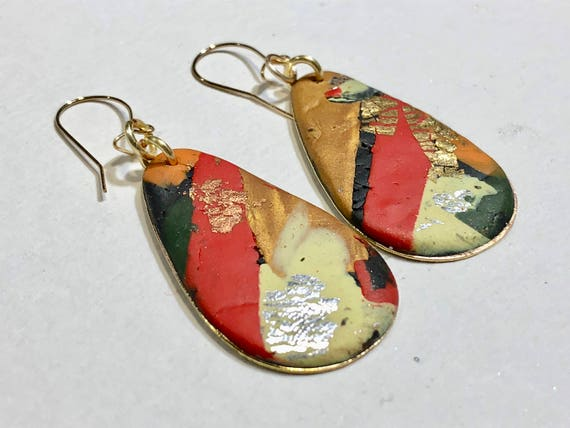 Earrings - multi color red yellow gold contemporary handmade polymer clay on drop shaped piece with 14 k gold plated ear wire