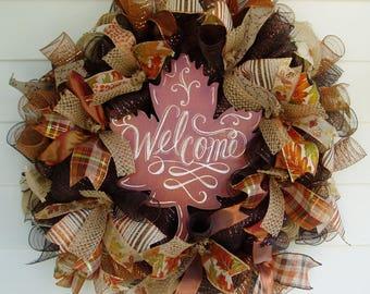 Fall Wreath, Fall Deco Mesh Wreath, Autumn Wreath
