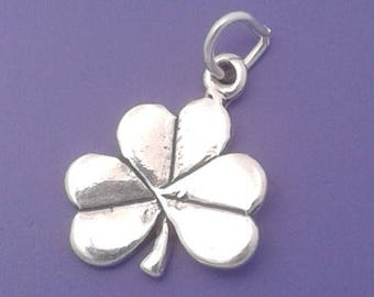 Shamrock or Clover Charm .925 Sterling Silver Irish Good LUCK Pendant - sc552