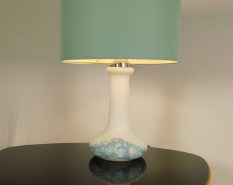 LIMBURG table lamp, opal glass blue structured, 60s 70s