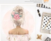 3 FOR 2. Boho Clipart - Flower Watercolor Fashion Illustration - Tribal Feather, Planner Sticker Idea, Wall Art Gift, Fashionista, Gold Foil