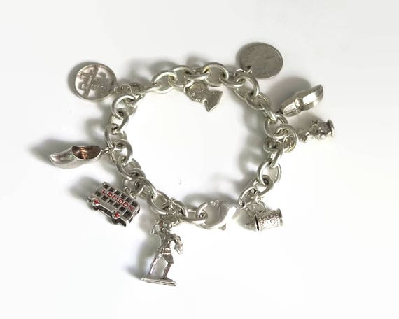 Sterling silver bracelet with 9 different sterling silver charms, chunky Belcher link chain, 7.75 inches / 19.5 cm, 39 grams