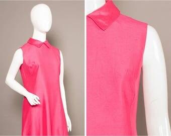 TWIGGY 60s Satin HOT Pink Trapeze Dress UK 12-14