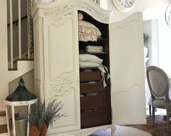 Antique White French Armoire Chalk Painted Dressing Room Storage Cabinet Wardrobe