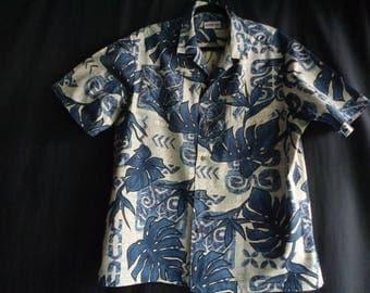 Vintage Hawaiian shirt blue tiki cotton