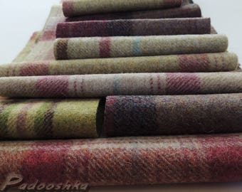 Scottish plaid fabric bundle Tartan wool patchwork applique sewing pack Small textile project  Heather and Lime Abraham Moon fabric scraps