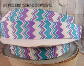 "3 yards 1"" teal/purple/white chevron grosgrain ribbon"