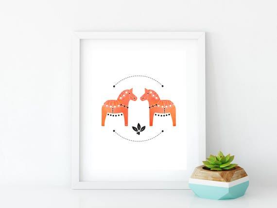 Orange Dala Horse Art Print, Instant Digital Download