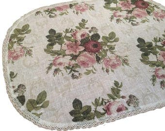 Linen Tablecloth - Table Runner - Linen fabric Shabby Chic Roses with linen lace 75 cm x 55 cm - 21'' x 30''