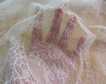 "soft Chantilly lace fabric,eyelash Lace Fabric ,off  White Chantilly Lace fabric  for wedding 59"" width 3 yards"