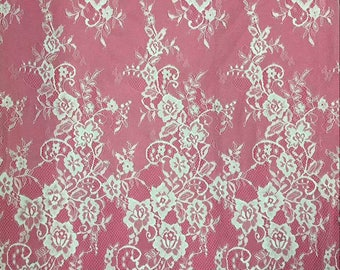 """Lace Fabric sell by yard ,off  White Chantilly Lace fabric  for wedding 59"""" width-7268"""