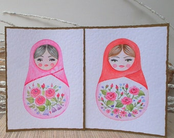 "Babushka doll, Matryoshka doll card. Watercolor art, Hand painted Original art card 10 x 13 cm,  4x5"" with an envelope Matryoshka stationery"