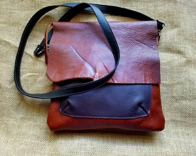 Leather Cross Body Messenger Bag / Courier Bag