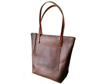 ZIPPERED LARGE TOTE Henna Brown • Leather Everyday Bag