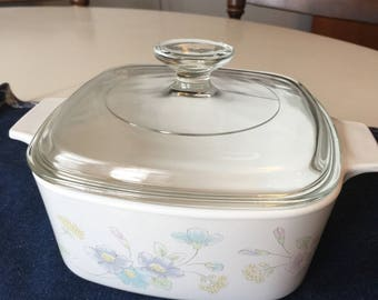 Corning Ware, Pastel Bouquet, Casserole with Lid.