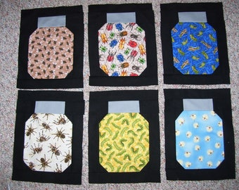 Bug jar quilt blocks ready to be made into a quilt for a child-bugs-bug jar quilt
