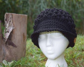 Crocheted hat - popcorn with brim/black; women/girl