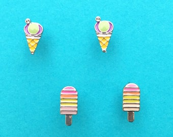 "Fun In The Sun Collection ""Ice Cream Summer"" Dainty Minimalist Bright Ice Cream Earring Set - Summer Earrings Minimal"