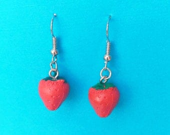 "Femme Foodie Collection ""Strawberry Suprise"" Res Strawberry Drop Dangle  Earrings"
