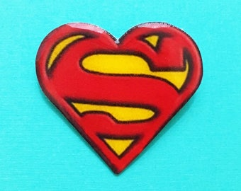 "Superhero Collection ""Superheart"" Superman Inspired Heart Pin Brooch"
