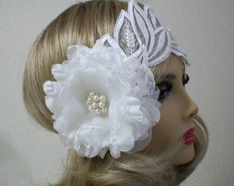 White 1920s headpiece, Flapper headband, Great Gatsby headband, 1920s headband, Gatsby Headpiece, 1920s Accessories, Vintage inspired