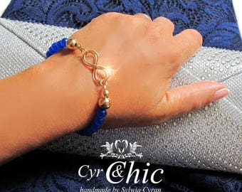Infinity Bracelet in Gold filled 16k and glass beads to be CUSTOMISED