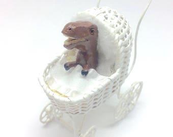Miniature baby stroller - T-Rex dinosaur baby!  Unique miniature