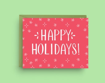 Happy Holidays Card, Pattern Christmas Card, Red Christmas Card, Christmas Card, Merry Christmas Card