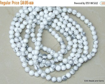 White Howlite -  10mm Round Beads - 15 inch Strand