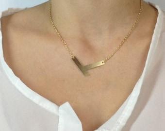 SUMMER SALE 20% OFF Geometric chevron necklace, minimalist neckllace, tiny necklace, geometric jewelry bib necklace, statement necklace
