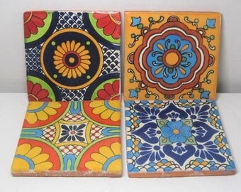 Random Mexican Folk Art Tile Drink Coaster Wedding Favors